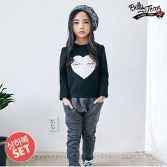 BILLY JEAN - Kids Set: Heart Print Sweatshirt + Harem Pants