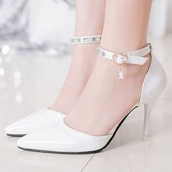 Lime Forest - Ankle Strap High-heel Pumps