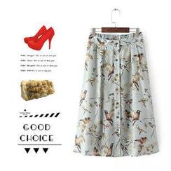 Ainvyi - Bird Pattern Chiffon Long Skirt