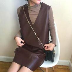 Alfie - Plain V-Neck Loose-Fit Faux-Leather  Tank Dress