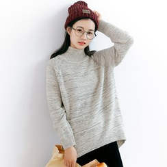 Forest Girl - Melange Knit Mock Neck Sweater