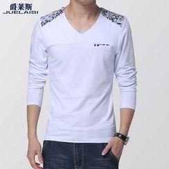 Jazz Boy - Long-Sleeve V-Neck Printed T-Shirt