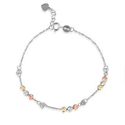 MaBelle - 14K/585 Tri-Color Gold Balls and Heart Plates Bracelet