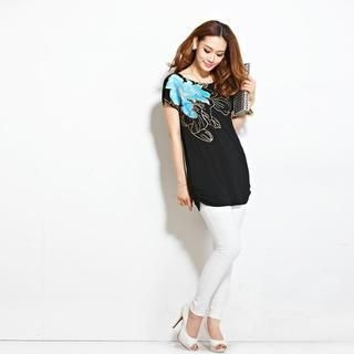 Anzhier - Short-Sleeve Flower Print Top
