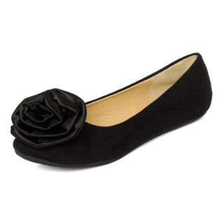 YesStyle Footwear - Corsage-Accent Faux Suede Flats