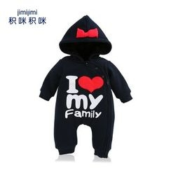JIMIJIMI - Baby Lettering Hooded One-Piece
