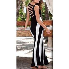 Katemi - Sleeveless Striped Cutout Sheath Dress
