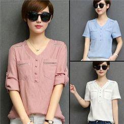 Neeya - V領七分袖襯衫