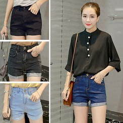 Nassyi - Cuffed High Waist Denim Shorts