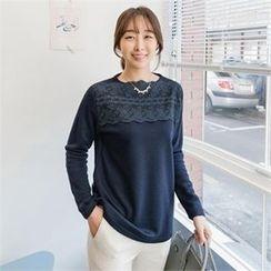 JOAMOM - Lace-Overlay T-Shirt