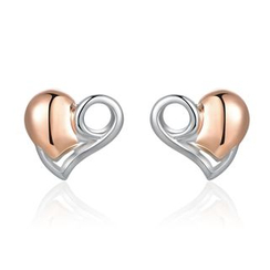 MaBelle - 925 Sterling Silver Two Tone Plated Red Heart Earrings