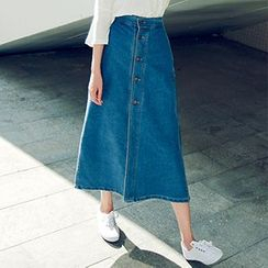 Jolly Club - Buttoned Denim Maxi Skirt