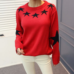 DANI LOVE - Crew-Neck Star Print Sweater