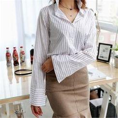 CHICFOX - Long-Sleeve Striped Shirt