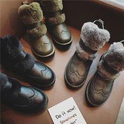Hipsole - Faux-Fur Panel Short Boots