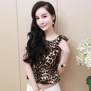 Miss Aries - Ruffled Leopard-Print Sleeveless Top