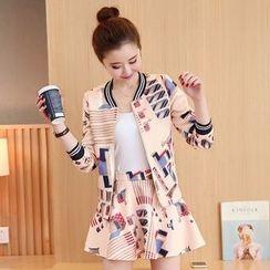 Kotoba - Set: Printed Zip Jacket + Skirt