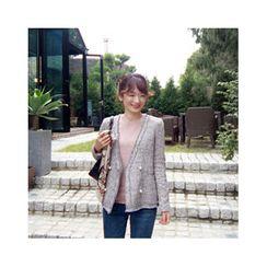 LEELIN - Faux-Pearl Button Tweed Jacket