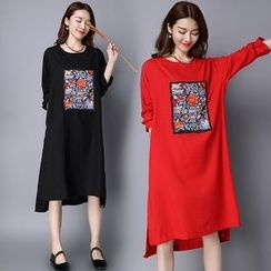 Diosa - Embroidered Linen Cotton Long-Sleeve Dress