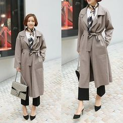 STYLEBYYAM - Wool Blend Open-Front Coat with Sash