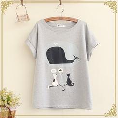 布衣天使 - 鯨魚印花短袖T恤