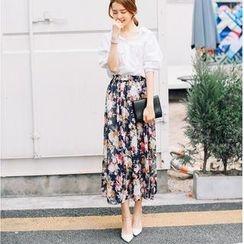 Porta - Floral Chiffon Midi Skirt