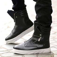 MR.GONG - Faux Leather Short Boots