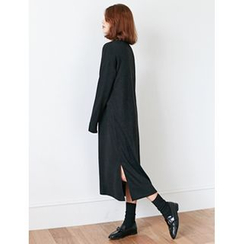 FROMBEGINNING - Mock-Neck Pullover Long Dress
