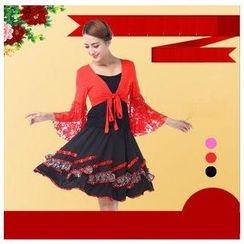 AUM - 拉丁舞套装: 上衣 + 短裙 + 短外套