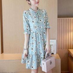 EFO - Short-Sleeve Floral Chiffon Dress