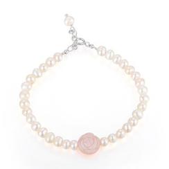 MBLife.com - 925 Sterling Silver LaPerle Pink MOP Rose Fresh Water Pearl Bracelet