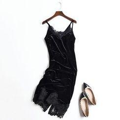 Neeya - Strappy Lace Trim Midi Dress