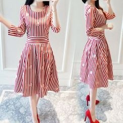 lilygirl - 3/4-Sleeve Striped A-line Dress