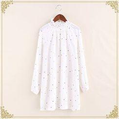 Fairyland - Frill Trim Dotted Long-Sleeve Dress