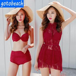 Sunset Hours - Set: Shirred Bikini  + Lace Cover-Up