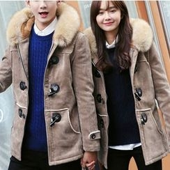 Bay Go Mall - Couple Matching Furry Hooded Long Coat