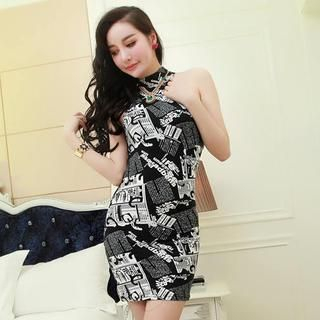 Miss Aries - Mock-Neck Printed Sleeveless Bodycon Dress