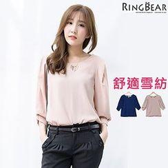 RingBear - 气质端庄古典美人宫廷造型袖后领小缕空雪纺上衣
