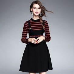 Ozipan - Long-Sleeve Stripe-Panel A-Line Dress