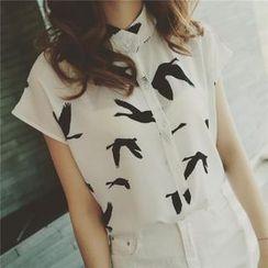 DreamyShow - Sleeveless Bird Print Chiffon Blouse