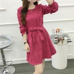 Arroba - Long Sleeve A-Line Dress with Sash