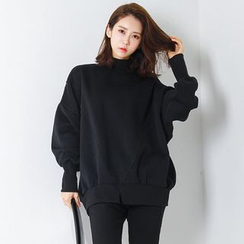 FASHION DIVA - Mock-Neck Dolman-Sleeve Pullover