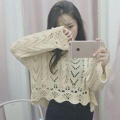Miss Kekeli - Open Knit Cropped Sweater