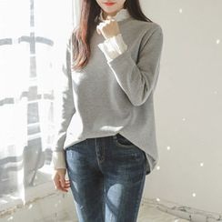 JUSTONE - Pleat-Trim Brushed-Fleece Lined Pullover