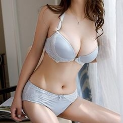 Quiria - Set: Lace Embroidered Bra + Lace Panties