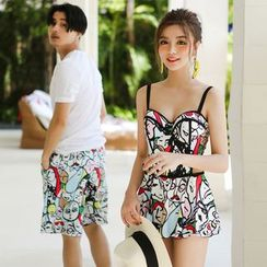 Lady J Swimwear - Couple Matching Printed Swimdress / Swim Shorts