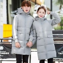 Rosehedge - Couple Matching Striped Hooded Long Padded Coat