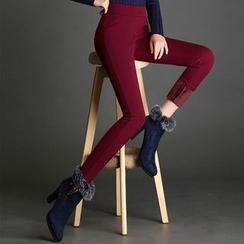 Mija - Plain Fleece-Lined Leggings