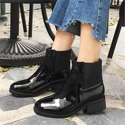 QNIGIRLS - Band-Trim Patent Ankle Boots