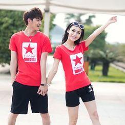 Lovebirds - 套裝: 情侶短袖星星印花T恤 + 短褲